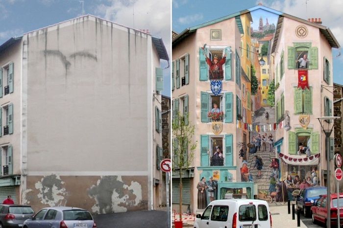 Прекрасный стрит-арт: французский художник наполняет скучные стены зданий яркой жизнью